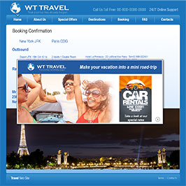 Travel website using exit intent message to cross-sell additional products and services