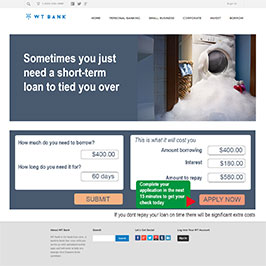 Finance website using urgency messaging to encourage applications