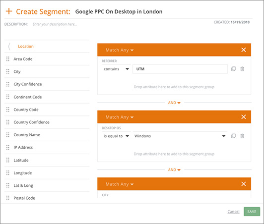 Screenshot of the Webtrends Optimize product screen for creating a segmented target audience for an AB test