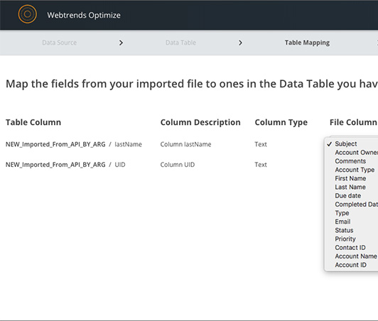 Screenshot of the Webtrends Optimize product screen for importing your own custom data