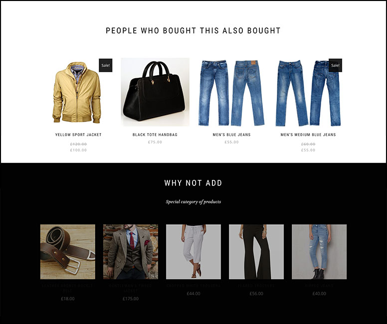 Two examples of product recommendations carousels - people who bought this also bought & why not add