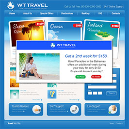 Travel website using onsite retargeting to display a promotional offers lightbox