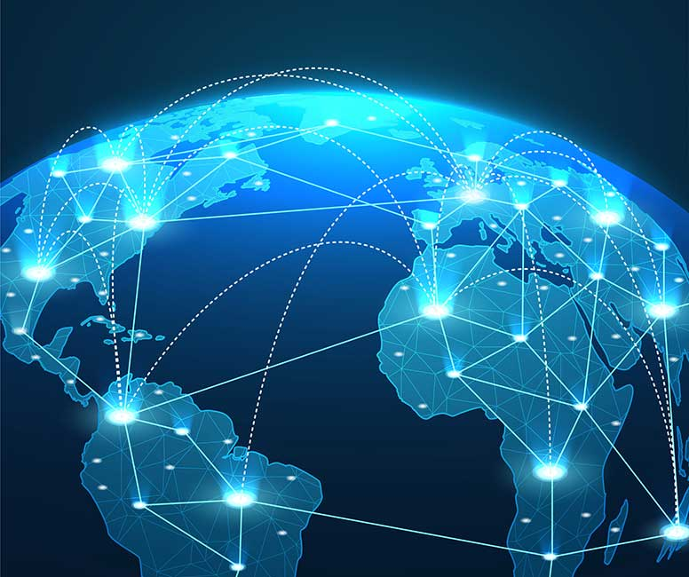 Glob highlighting technology connections between different locations