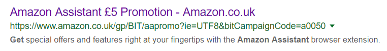 Screenshot of Amazon Assistant £5 promotion