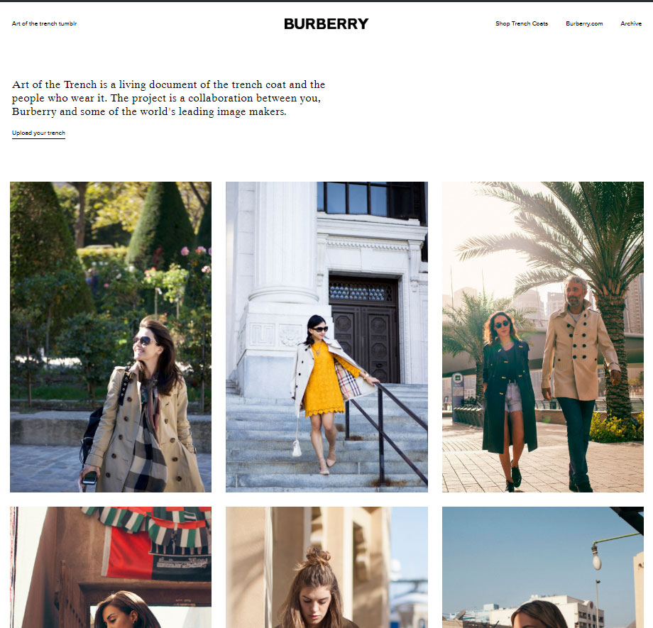 Burberry User Generated Content campaign called The Art of the Trench