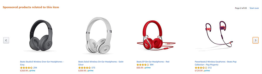 Example of using product recommendations for social proofing from Amazon's website