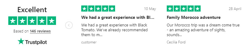 Example of Black Tomato using TrustPilot Reviews for social proofing