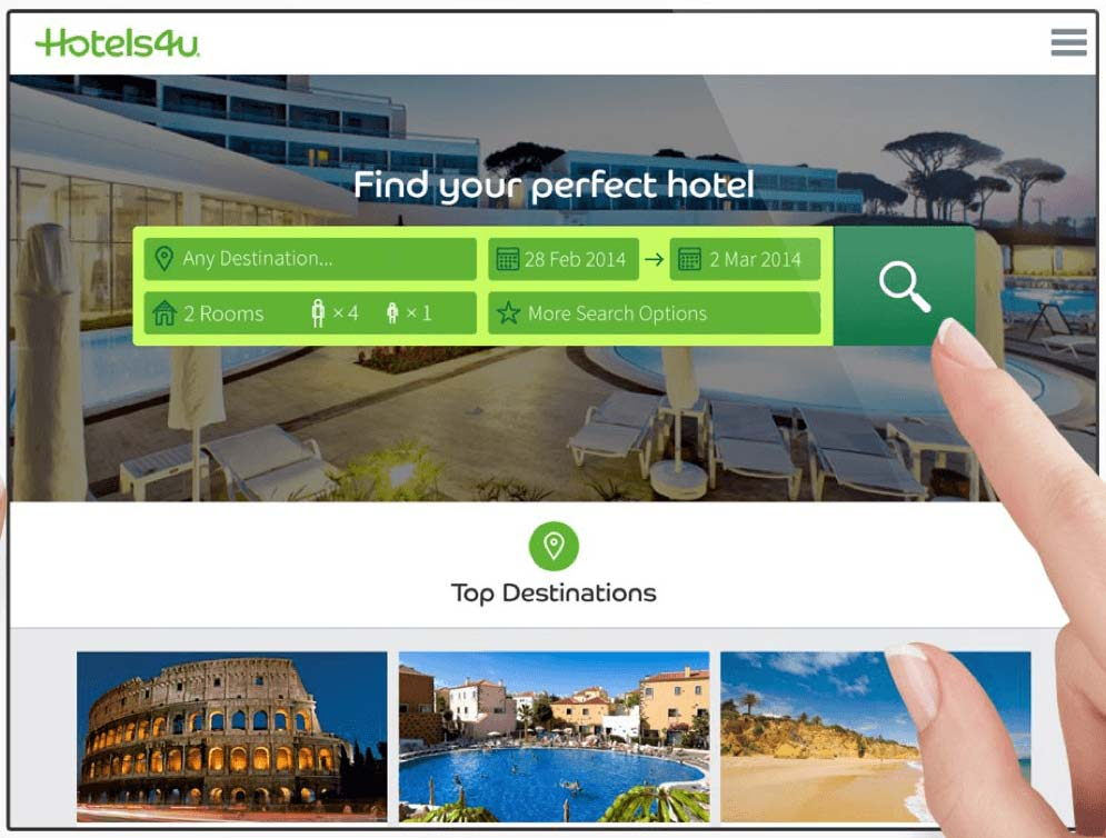 Hotels4u screenshot showing their search funnel optimisation