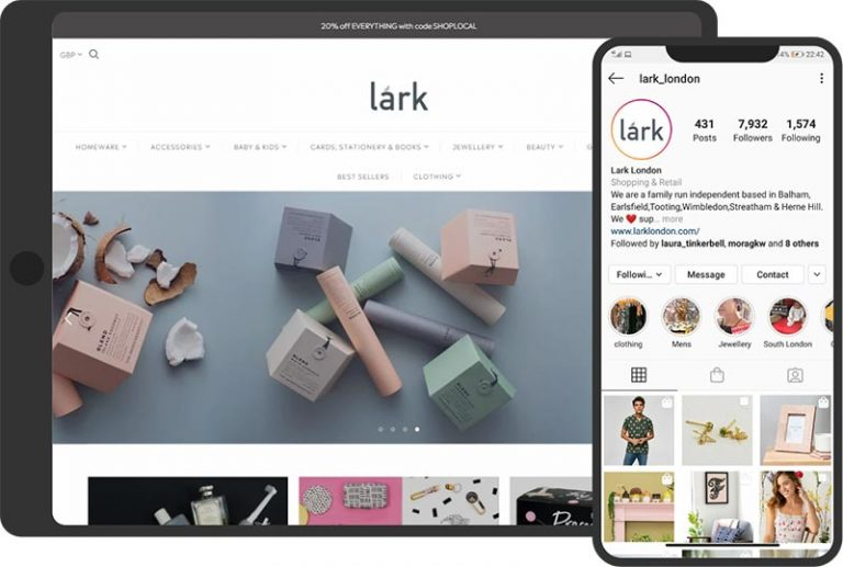 Lark London Shopify store and Instagram page
