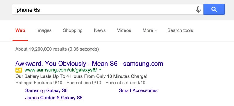 Screenshot of Google search for iPhone returning a Samsung paid advert