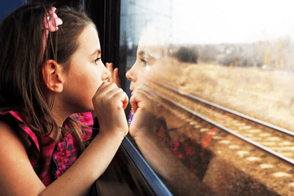Young girl on train