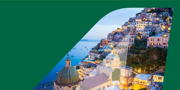 Alitalia banner showing mediterranean coastal town
